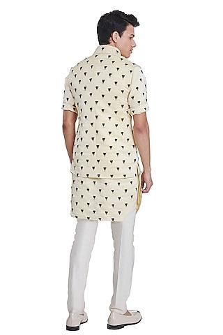 Lemon Yellow Knotted Pattern Jacket by Kunal Rawal