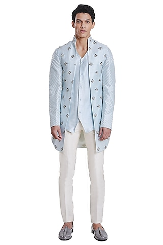Ice Blue Knotted Open Jacket by Kunal Rawal