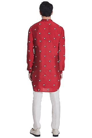 Red Floral Kurta With Placket by Kunal Rawal