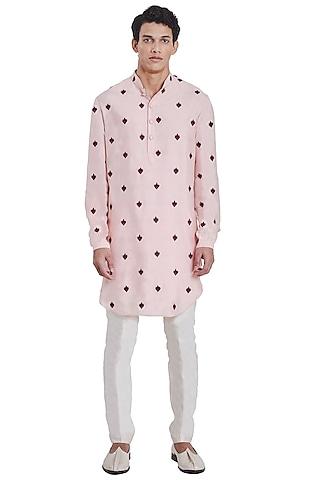 Blush Pink Floral Kurta by Kunal Rawal