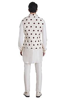 Vanilla White Knotted Pattern Jacket by Kunal Rawal