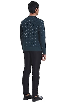 Teal Sweatshirt With Threadwork Pattern by Kunal Rawal