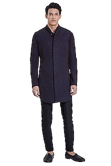 Navy Blue Deconstructed Jacket With Placket Kurta by Kunal Rawal