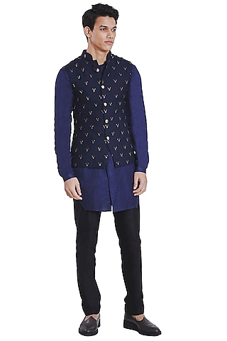 Navy Blue Knotted Jacket by Kunal Rawal