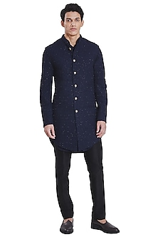 Navy Blue Deconstructed Jacket With Kurta by Kunal Rawal