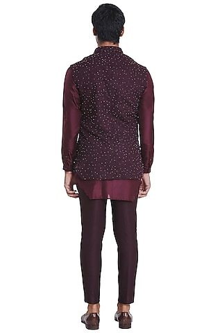 Wine Jacket With Flying Bird Pattern by Kunal Rawal