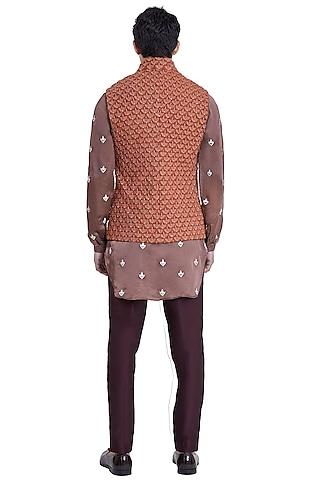 Rust Brown Threadwork Pattern Jacket by Kunal Rawal