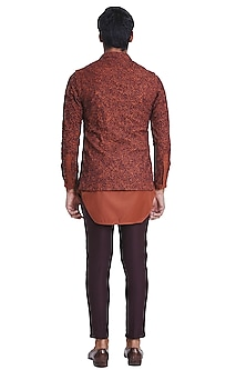 Rust Brown Deconstructed Jacket With Placket Kurta by Kunal Rawal
