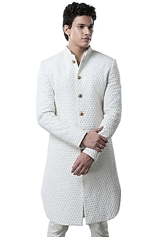 Vanilla White Floral Pattern Jacket by Kunal Rawal