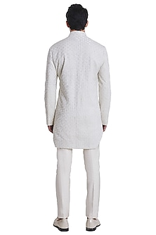 Vanilla White Deconstructed Jacket With Kurta by Kunal Rawal