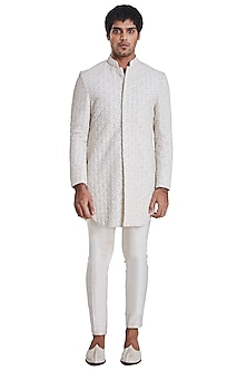 Vanilla White Rose Pattern Jacket by Kunal Rawal