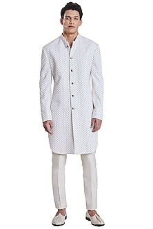 White Bow Arrow Pattern Jacket by Kunal Rawal