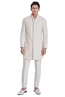 White Jacket With Vintage Libra Pattern by Kunal Rawal