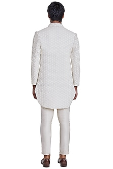 Vanilla White Beaded Open Jacket by Kunal Rawal