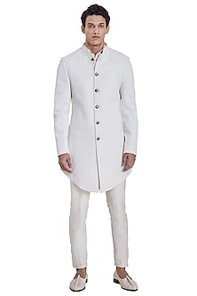 White Floral Deconstructed Jacket by Kunal Rawal
