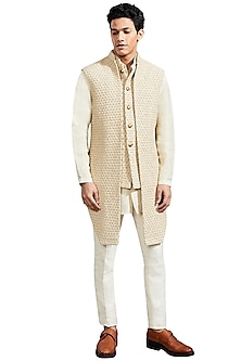 Dull Gold Floral Knotted Jacket by Kunal Rawal