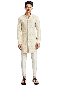 Dull Gold Knotted Kurta by Kunal Rawal