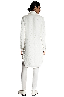 White Brail Knotted Stole by Kunal Rawal
