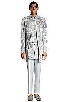 Grey Threadwork Suiting Sherwani by Kunal Rawal-KUNAL RAWAL