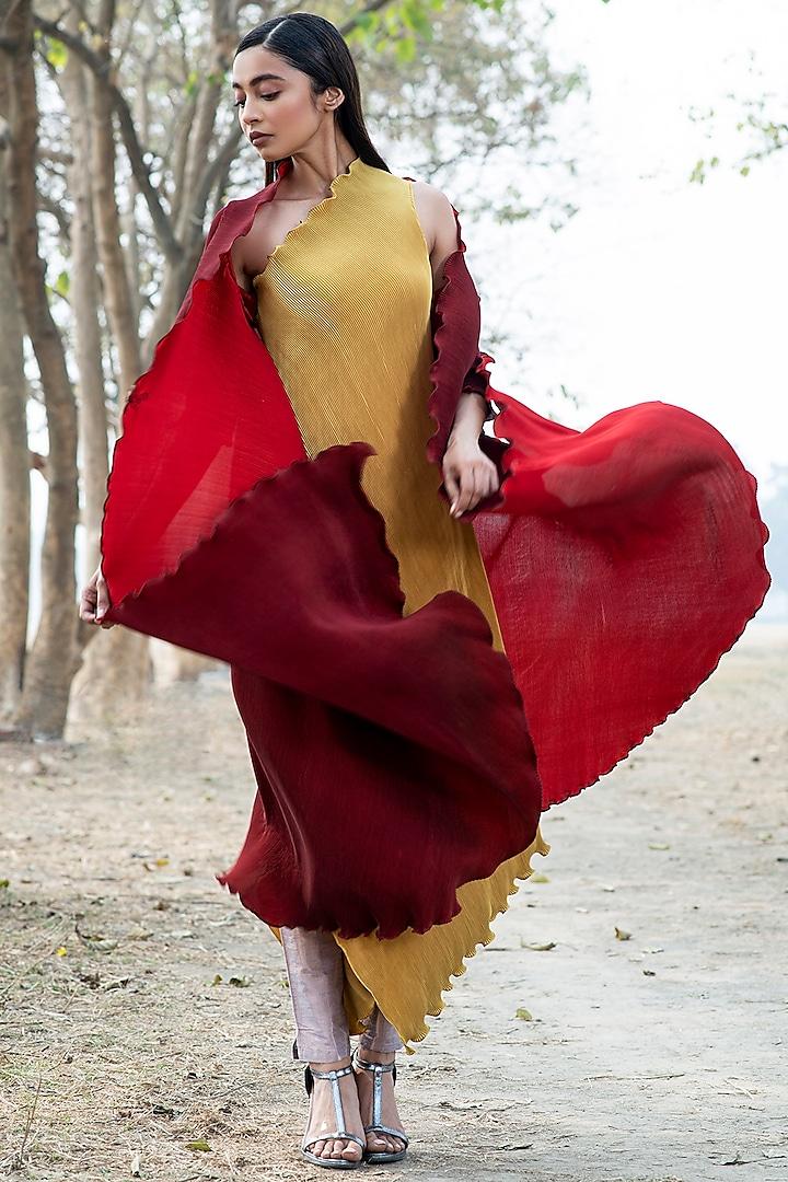 Mustard One Shoulder Dress by Kiran Uttam Ghosh