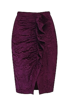 Maroon pleated skirt by KUKOON