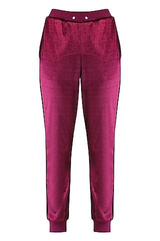 Maroon jogger pants by KUKOON