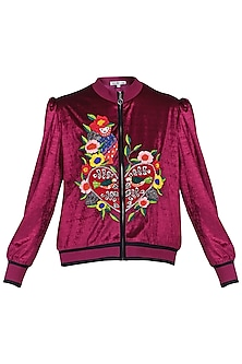 Maroon crop bomber jacket by KUKOON