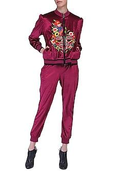 Maroon crop bomber jacket by KUKOON