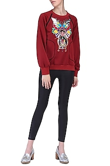 Maroon panelled sweatshirt by KUKOON