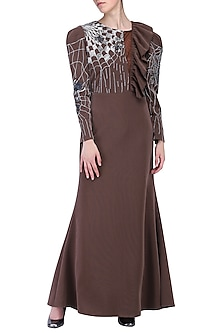Grey mermaid cut gown by KUKOON