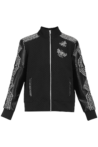 Black quilted bomber jacket by KUKOON