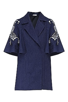 Navy blue flared cape by KUKOON
