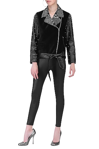 Black studded biker jacket by KUKOON