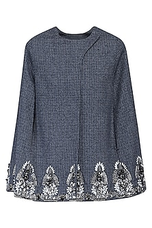 Grey houndstooth cape by KUKOON