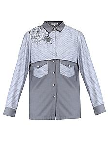 Grey overlay panel shirt by KUKOON