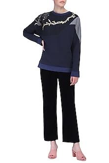 Navy blue batwing sweatshirt by KUKOON