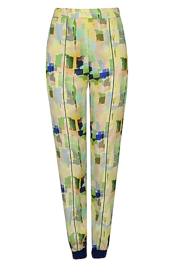 Lime Green Digital Camouflage Printed Jogger Pants by Kukoon
