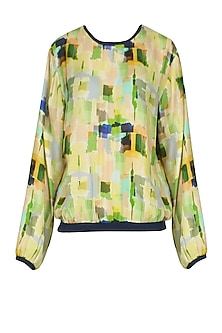 Lime Green Digital Camouflage Printed Bomber Top by Kukoon