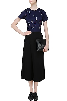 Blue Beads and Crystal Embellished Motifs Top by Kukoon