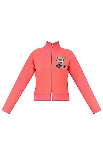 Pink Dog Embellished Bomber Jacket by Kukoon