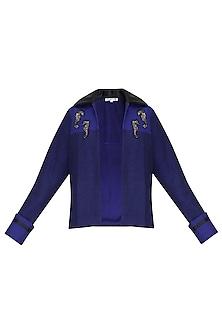 Navy Blue Sea Horse Embellished Jacket by Kukoon