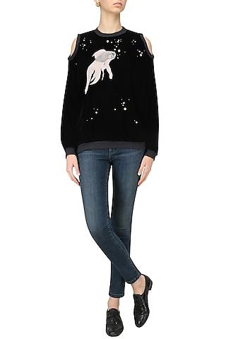 Black Cut Out Shoulder Embellished Jacket by Kukoon
