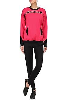Pink Embellished Sweatshirt by Kukoon