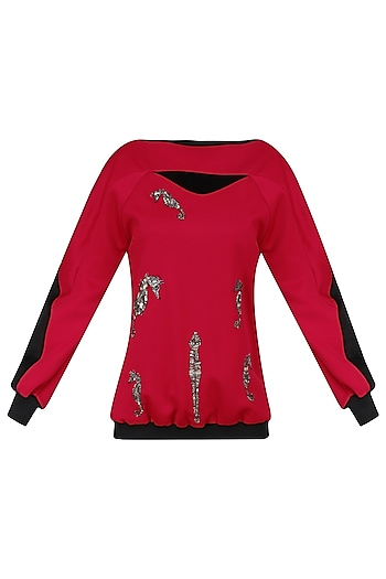 Red and Black Embellished Jacket by Kukoon