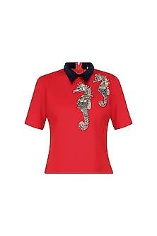Red Embellished Jersey Top by Kukoon
