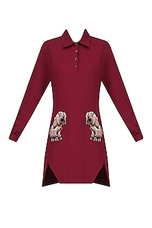 Maroon Embellished Shirt Dress by Kukoon