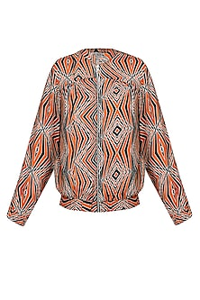 Red And Ivory Illusionary 3D Print Bomber Jacket by Kukoon