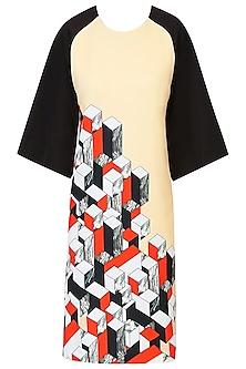 Yellowish Beige 3D Cube Print Shift Dress by Kukoon