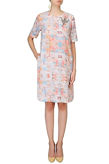 Ivory Soft Block Cubes Print Falcon Dress by Kukoon