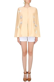 Peach Bug Motifs Embroidered Cape Jacket by Kukoon